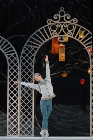Sarasota Ballet's Logan Learned in Les Patineurs photo by Linda Spillers