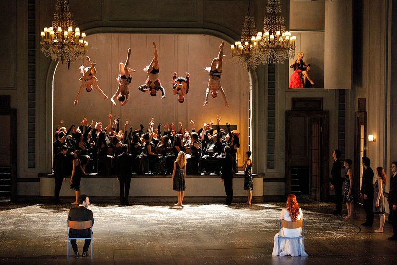 "4. Luciano Botelho (Orpheus), Catriona Smith (Euridice), Yun-Jeong Lee (L'Amour, top right) and ensemble in 2011, ""Orphée et Euridice"" by Christian Spuck, Stuttgart State Opera and Stuttgart Ballet"