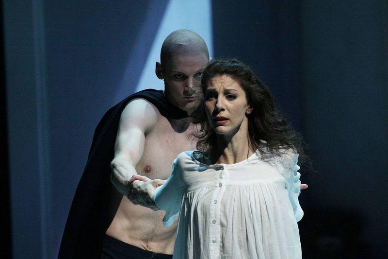 """1. Hélène Bouchet (Tatiana) and Edvin Revazov (Onegin), """"Tatiana"""" by John Neumeier, Hamburg Ballet 2014"""