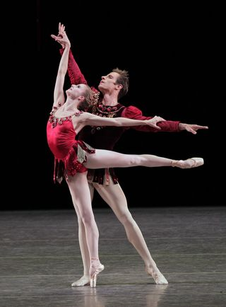 Sterling Hyltin and Andew Veyette 1 performing in George Balanchine's Rubies from the ballet Jewels. Photo credit Paul Kolnik 2