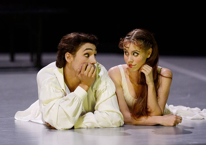 """1. Daniel Camargo (Prince Leonce) and Elisa Badenes (Princess Lena), """"Leonce & Lena"""" by Christian Spuck, Stuttgart Ballet 2014"""