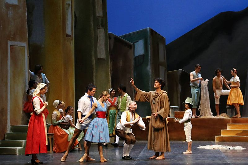 "1. Laura Cazzaniga (Veronica, a widow; at New Year's Eve Niurka Moredo danced the role), Alexandre Riabko (Gennaro, a fisherman), Silvia Azzoni (Teresina, Veronica's daughter), Konstantin Tselikov (Giacomo, a macaroni merchant), Marc Jubete (Monk Fra Ambrosio) and ensemble, ""Napoli"" by August Bournonville and with new choreography by Lloyd Riggins, Hamburg Ballet 2014"